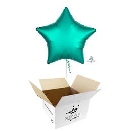 Globo Estrella Verde Jade Satín en caja sorpresa