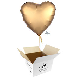 Globo Corazón Oro Satín en caja sorpresa