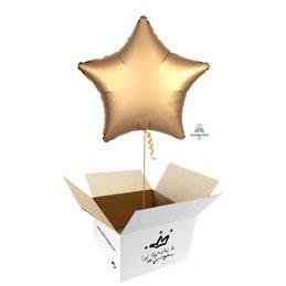 Globo Estrella Oro Satín en caja sorpresa