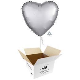 Globo Corazón Plata Satín en caja sorpresa