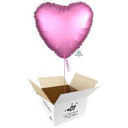 Globo Corazón Rosa Satín en caja sorpresa
