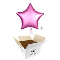 Globo Estrella Rosa Satín en caja sorpresa