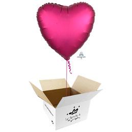 Globo Corazón Fucsia Satín en caja sorpresa