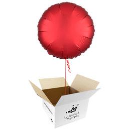Globo redondo Rojo Satín en caja sorpresa