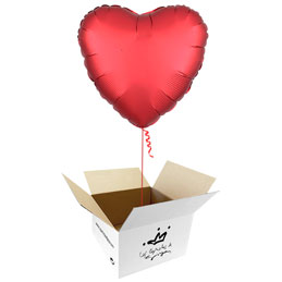 Globo Corazón Rojo Satín en caja sorpresa