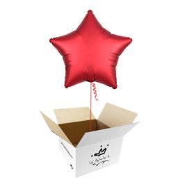 Globo Estrella Rojo Satín en caja sorpresa