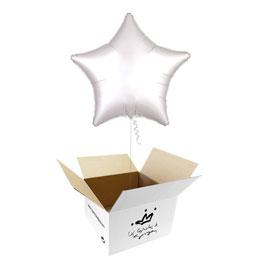 Globo Estrella Blanco Satín en caja sorpresa
