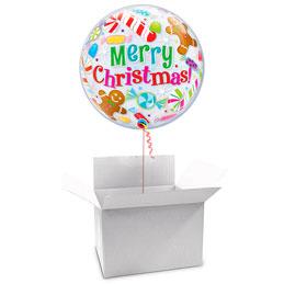 Globo Burbuja Merry Christmas en caja sorpresa