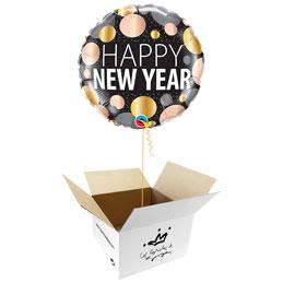 Globo Happy New Year en caja sorpresa