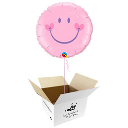 Globo Smile, sonrisa feliz rosa en caja sorpresa