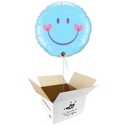 Globo Smile, sonrisa feliz azul celeste en caja sorpresa