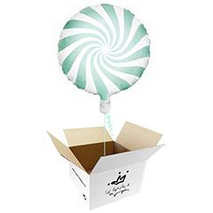 Globo Caramelo verde menta suave en caja sorpresa