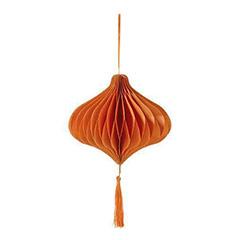 Decoración bola de papel romboide con borla de color naranja