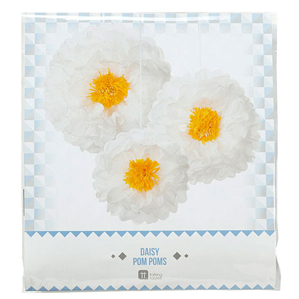 Pompones flor margarita blancas, 3 u diferentes medidas