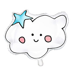 Globo nube cara dibujada con estrella