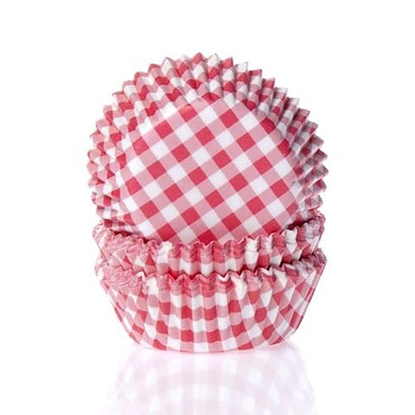 Cápsulas cupcakes cuadros rojos y blancos House of Marie, Pack 50 u