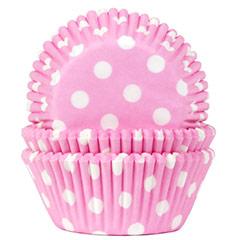 Cápsulas cupcakes rosa lunares blancos HM, Pack 50 u.