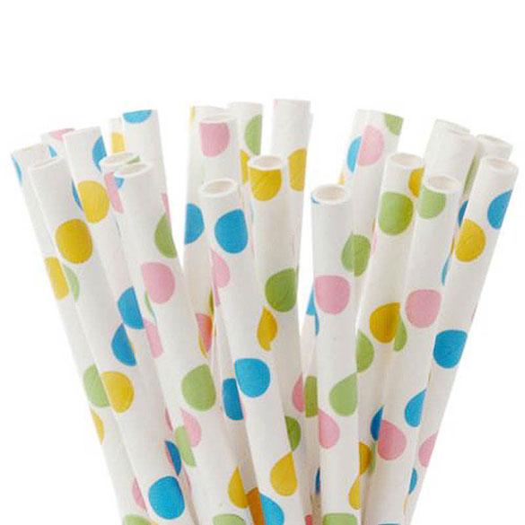Pajitas/palillos cake pops lunares de colores, Pack 20 u.