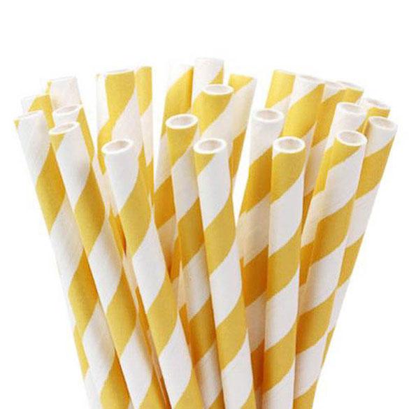 Pajitas/palillos cake pops amarillo y banco 15,00 cm, Pack 20 u.