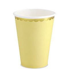 Vasos amarillo suave borde dorado 260 ml, Pack 6 u.
