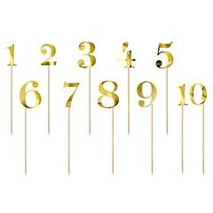 Pinchos números dorados del 1 al 10