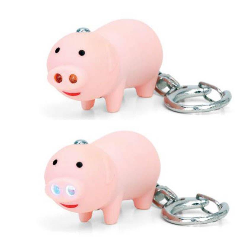 Llavero cerdo con luz y sonido