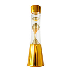 Lámpara de lava cromada oro, líquido transparente lava oro