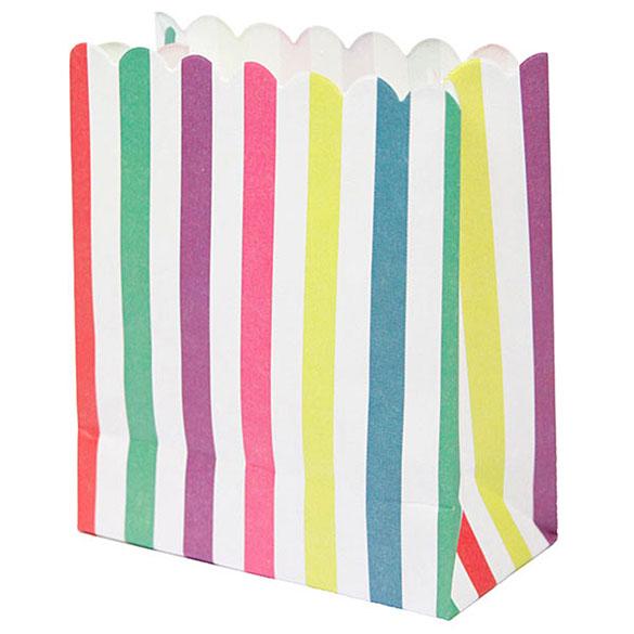 Bolsas de papel colores a rayas, Pack 12 u