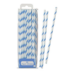 Pajitas a rayas azules y blancas, Pack 30 u.