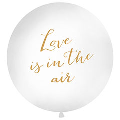 Globo de látex Love is in the Air blanco texto dorado 100 cm. 1 unidad