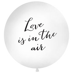 Globo de látex Love is in the Air blanco texto negro 100 cm. 1 unidad
