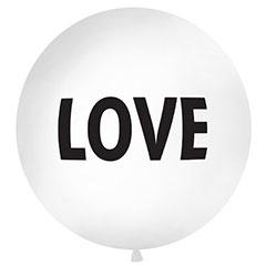 Globo de látex Love blanco texto negro 100 cm. 1 unidad