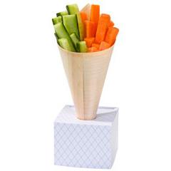 Cono bambú con base para aperitivos o dulces, Pack 8 u.