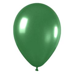 Globos de látex Verdes metalizados. Pack 12 u.