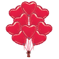 Ramo 10 globos metálicos forma corazón rojo