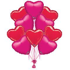 Ramo 10 globos metálicos forma corazón rojo/fucsia