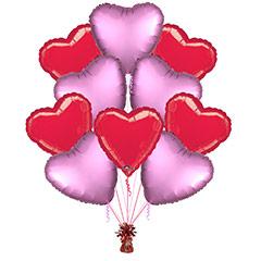 Ramo 10 globos metálicos forma corazón rojo/rosa
