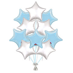 Ramo 10 globos metálicos forma estrella celeste/plateado