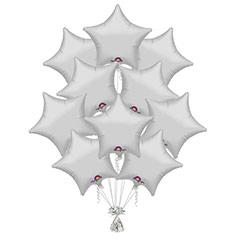 Ramo 10 globos metálicos forma estrella plateado