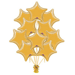 Ramo 10 globos metálicos forma estrella dorado