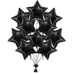Ramo 10 globos metálicos forma estrella negra