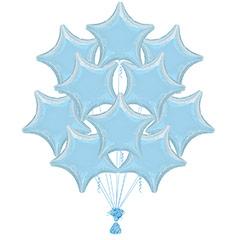 Ramo 10 globos metálicos forma estrella azul cielo