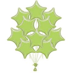 Ramo 10 globos metálicos forma estrella verde pastel