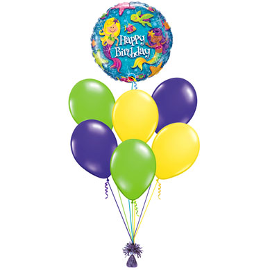 Ramo de Globos Happy Birthday Sirenitas