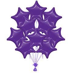 Ramo 10 globos metálicos forma estrella morado