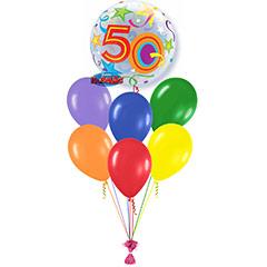 Ramo de Globos Feliz 50 Cumpleaños Burbuja