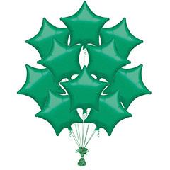 Ramo 10 globos metálicos forma estrella verde