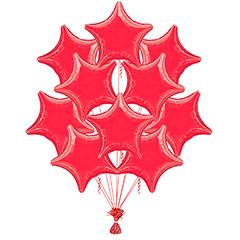 Ramo 10 globos metálicos forma estrella roja
