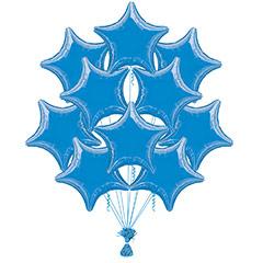Ramo 10 globos metálicos forma estrella azul