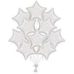 Ramo 10 globos metálicos forma estrella blanca